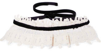 Anna Sui - Natural Corded Cotton-lace And Velvet Choker - Cream