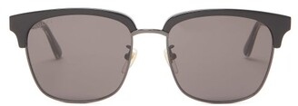 Gucci Web Striped Acetate And Metal Sunglasses - Mens - Black