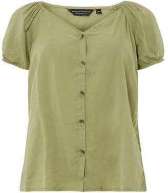 Dorothy Perkins Womens Khaki Button Through Top