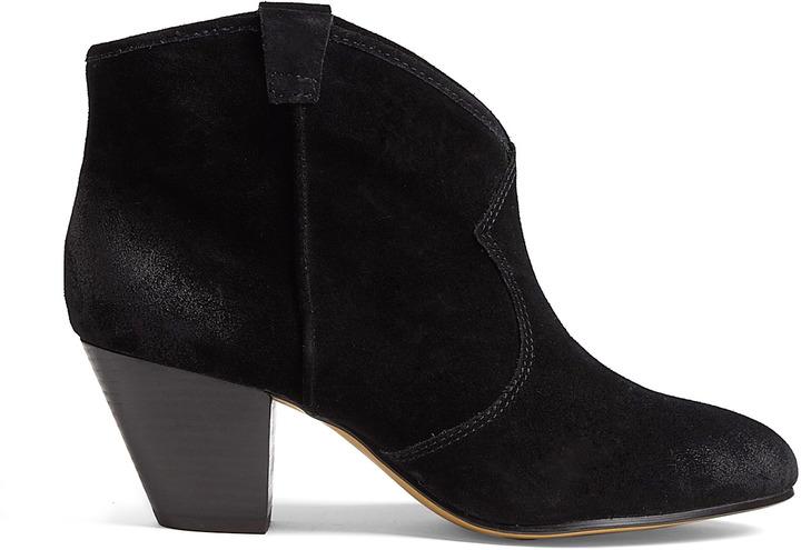 Ash Black Brushed Suede Jalouse Ankle Boots