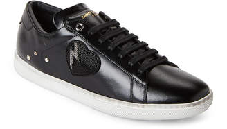 Saint Laurent Black Beaded Lightning Heart Court Classic Low-Top Sneakers