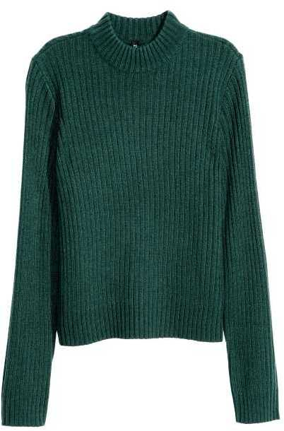 H&M - Rib-knit Sweater - Emerald green - Ladies
