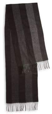 Black & Brown Black Brown Fringed Herringbone Striped Scarf