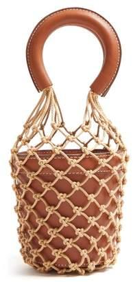 STAUD Moreau Mini Macrame And Leather Bucket Bag - Womens - Tan