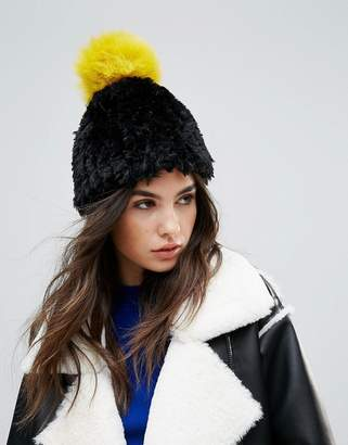 Urban Code Urbancode Soft Knitted Beanie Hat With Contrast Pom Pom