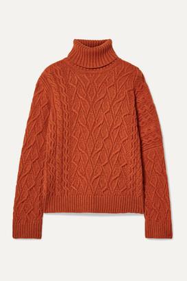 Loro Piana Cable-knit Cashmere Turtleneck Sweater - Bright orange