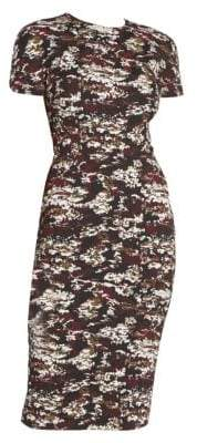 Victoria Beckham Camo Print Cap Sleeve Sheath Dress