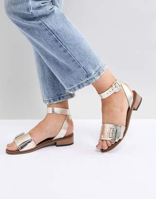 H By Hudson Leather Flat Sandals
