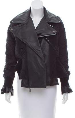 Sacai Leather-Accented Quilted Jacket