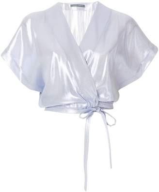 Alberta Ferretti sheer cropped blouse