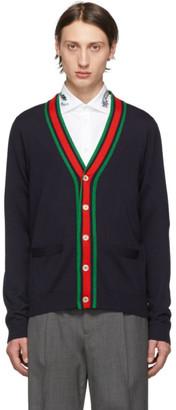 Gucci Navy Wool Web Stripe Cardigan