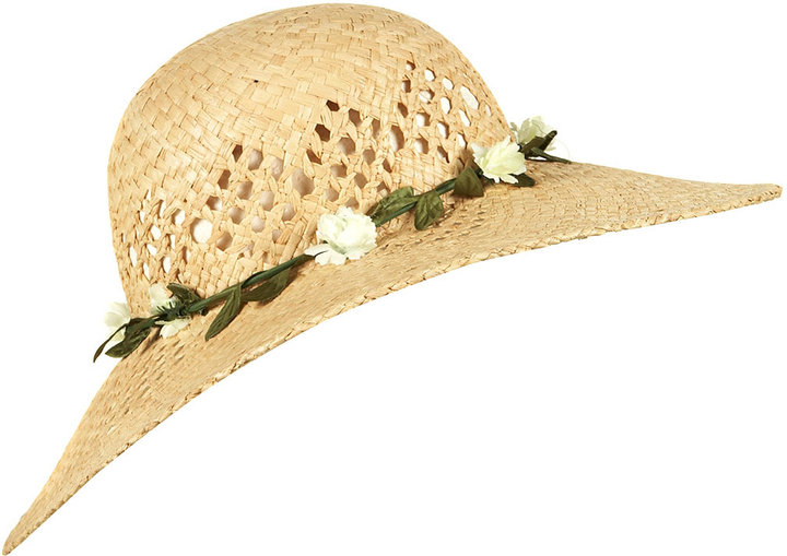 Garland Wheat Straw Wide Brimmed Hat