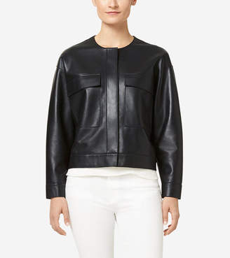 Cole Haan Raw Edge Leather Jacket