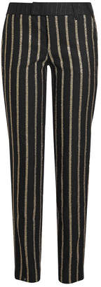 Zadig & Voltaire Prune Glitter Striped Pants with Wool