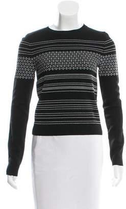 Oscar de la Renta Embroidered Crew Neck Sweater
