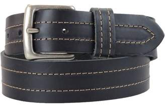 Montauk Leather Club 1-1/2 in. US Steer Hide Leather Double Stitch Men's Belt w/ Antq. Nickel Buckle