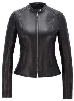 BOSS Hugo Slim-fit biker jacket in lambskin peplum waist 4 Black
