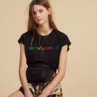 Sandro Cotton T-Shirt With Lettering