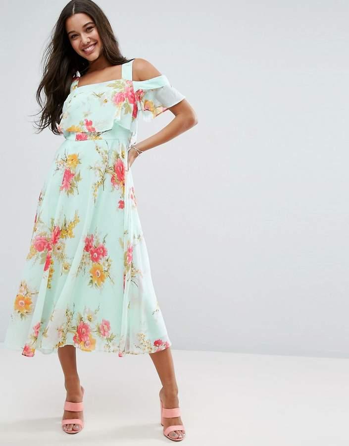 AsosASOS Cami Cold Shoulder Flutter Sleeve Midi Dress in Floral Print