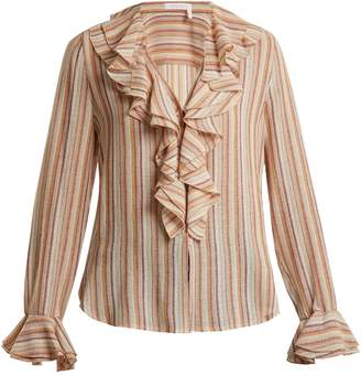 See by Chloe Ruffle-trimmed striped gauze top