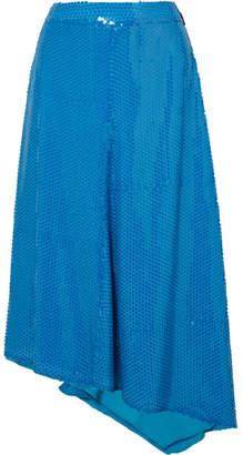MSGM Asymmetric Sequined Tulle Midi Skirt - Blue