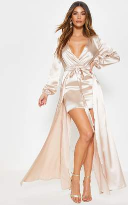 PrettyLittleThing Champagne Satin Plunge 2 in 1 Maxi Dress