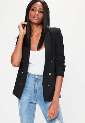 Crepe Gathered Sleeve Button Blazer