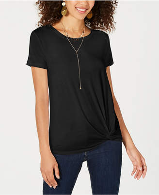 Style&Co. Style & Co Petite Solid Side-Knot T-Shirt