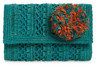 Mar Y Sol Anabel Woven Clutch - Blue/green $110 thestylecure.com