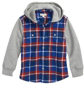 Tucker + Tate Mixed Media Hooded Flannel Shirt