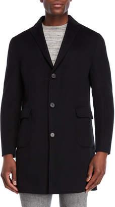 DKNY Black Single-Breasted Wool Overcoat