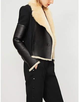 David Koma Virgin wool, leather and shearling jacket