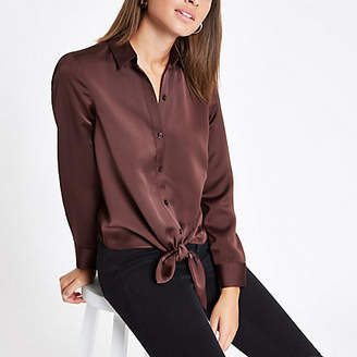 River Island Womens Dark Brown tie front button-up shirt