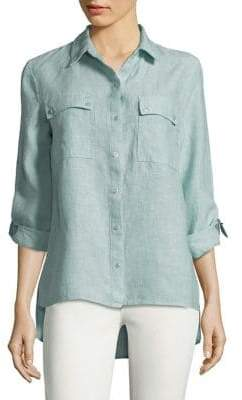 Jones New York Hi-Lo Linen Button-Down Shirt