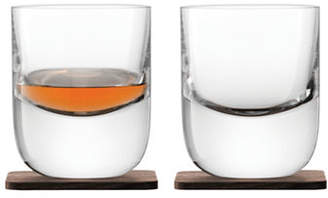 LSA International Set of Two Whisky Renfrew Tumbler & Walnut Coasters