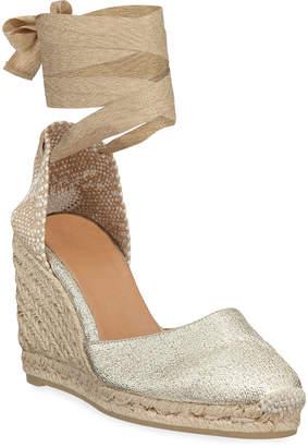 Castaner Carina Linen Wedge Espadrille Sandals