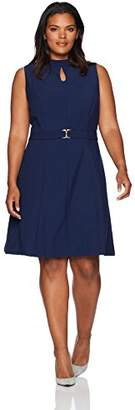 Ellen Tracy Women's Plus Size a-Line Dress with Buckle