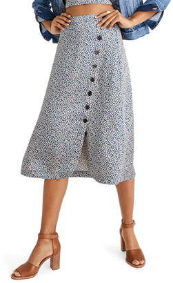 Madewell Side Button Midi Skirt in Bitsy Floral