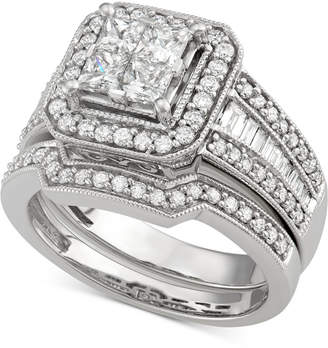 Macy's Diamond Square Halo Bridal Set (1-5/8 ct. t.w.) in 14k White Gold