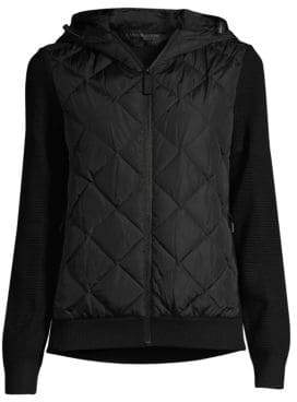 Canada Goose Women's Hybridge Mixed Media Knit Hoodie - Black - Size Small