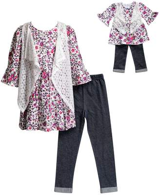 Dollie & Me Girls 4-14 Floral Bell Sleeve Dress, Faux Denim Leggings & Lace Vest Set