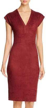 Level 99 Ivan Faux-Suede V-Neck Sheath Dress