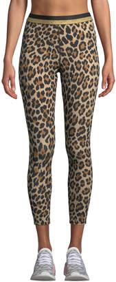 Kate Spade leopard-print cropped leggings with metallic stripe
