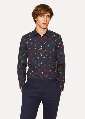 Paul Smith Men's Slim-Fit Navy 'Soho' Print Shirt With 'Artist Stripe' Cuff Lining