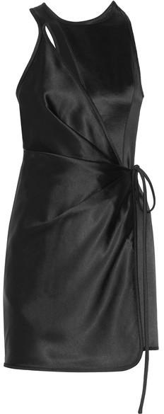 Alexander WangAlexander Wang - Wrap-effect Cutout Satin Mini Dress - Black
