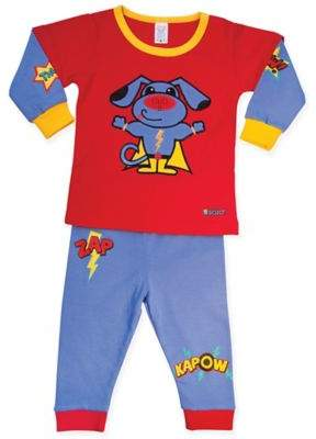 2-Piece Super Hero Dog Shirt and Pant Pajama in Red/Blue