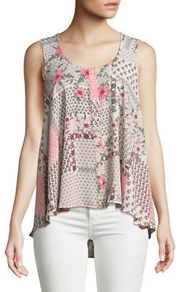 Style&Co. STYLE & CO. Sleeveless Printed High-Low Top