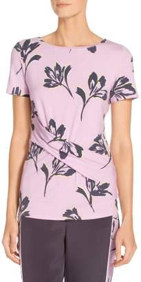 St. John Falling Flower Print Jersey T-Shirt