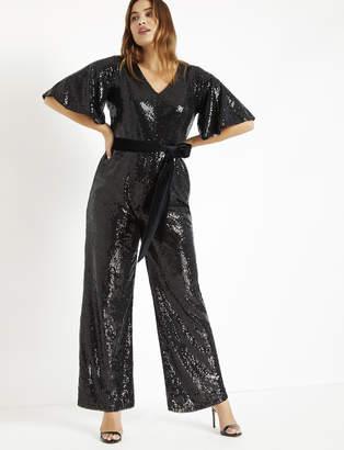 Sequin Flare Sleeve Jumpsuit