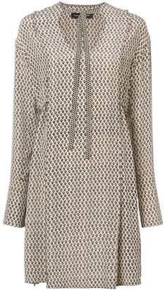 Proenza Schouler Silk Block Print Long Sleeve Dress